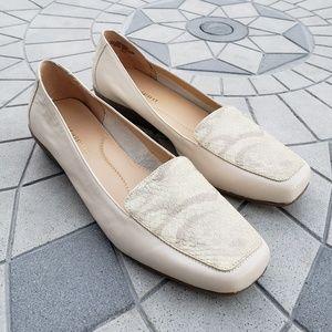 Easy Spirit Ivory Faux Snakeskin Leather Flats 7.5